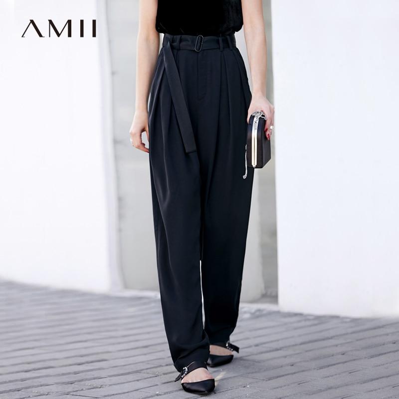 Amii Women Minimalist Wide Leg Pants 2019 Office Lady High Waist Pleated Chiffon Mop with Belt Female Trousers