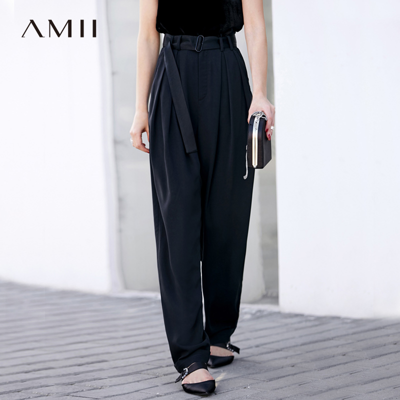 Amii Women Minimalist   Wide     Leg     Pants   2019 Office Lady High Waist Pleated Chiffon Mop with Belt Female Trousers