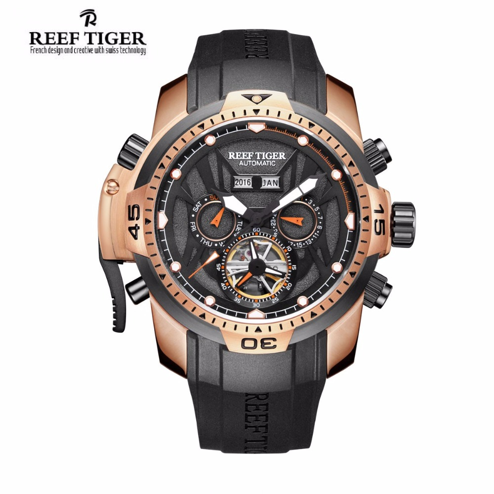 Reef Tiger/RT Fashion Mens Sport Watch with Year Month Date Day Calendar Big Dial Rose Gold Transformer Edition Watches RGA3532 機械 式 腕時計 スケルトン