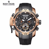 Reef Tiger/RT Fashion Mens Sport Watch with Year Month Date Day Calendar Big Dial Rose Gold Transformer Edition Watches RGA3532