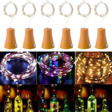 6pcs LED Solar Wine Stopper Sliver Copper Wire Lights 2M 20leds Garland String Lamp Waterproof Outdoor Garden Christmas Light