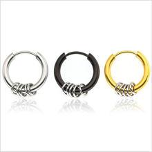 Круглые серьги кольца shi04 с вакуумным покрытием не выцветает