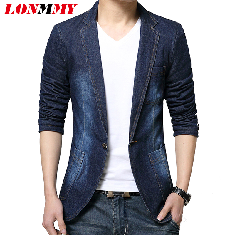LONMMY Denim blazer slim fit Cowboy suit jean jacket Men casual coat Single button