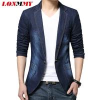 LONMMY Denim blazer men blazer jeans slim fit Cowboy coats Leisure mens suit jean jacket Men casual coat Single button New 2018