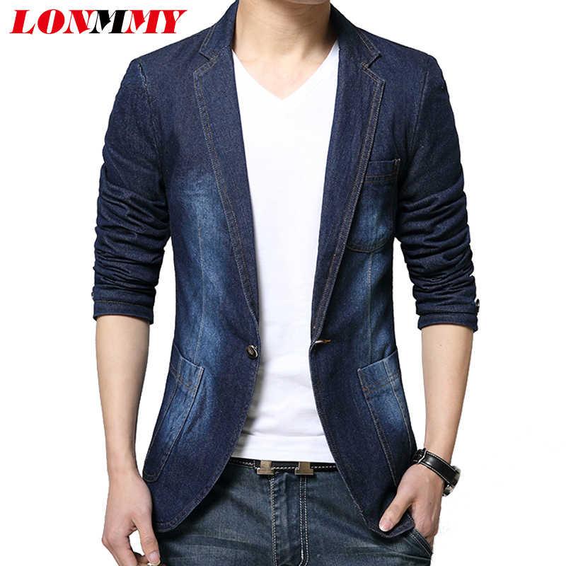 b5c558a360b Подробнее Обратная связь Вопросы о LONMMY деним мужской спортивный пиджак блейзер  джинсы slim fit Ковбойское пальто для отдыха Для мужчин s костюм ...