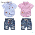 Fashion summer childrens clothing sets Brand cool baby boy suit set embroider denim suit short sleeve shirts+denim shorts F1832