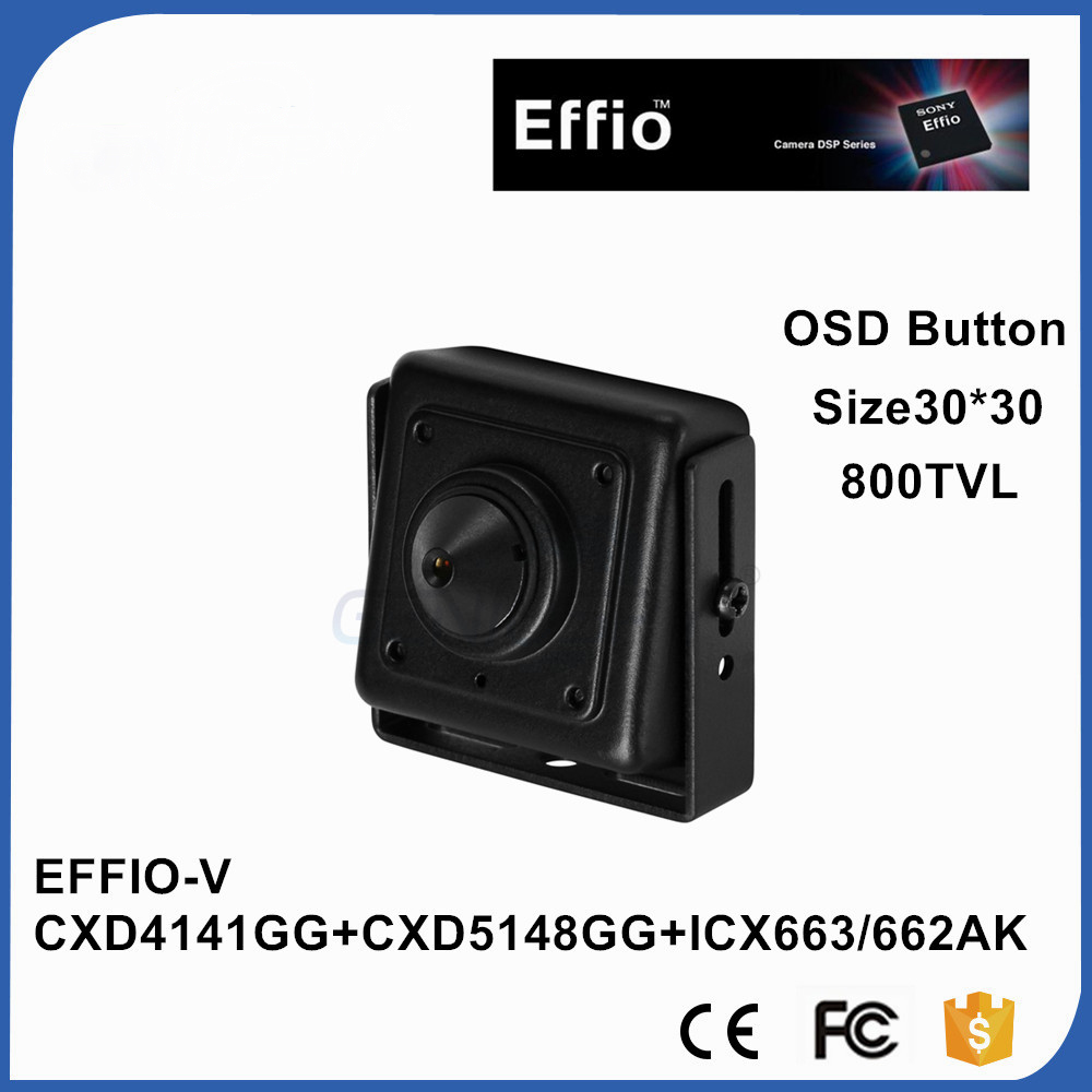 Mini CCTV Surveillance 1/3 Sony CCD Effio-V 800TVL Super Real WDR 0.0003Lux Starlight Miniature Square Mini CCD Camera With OSD sale with bracket 1 3 sony ccd effio a real 700tvl hd cctv camera osd surveillance products infrared 35m outdoor waterproof ip66