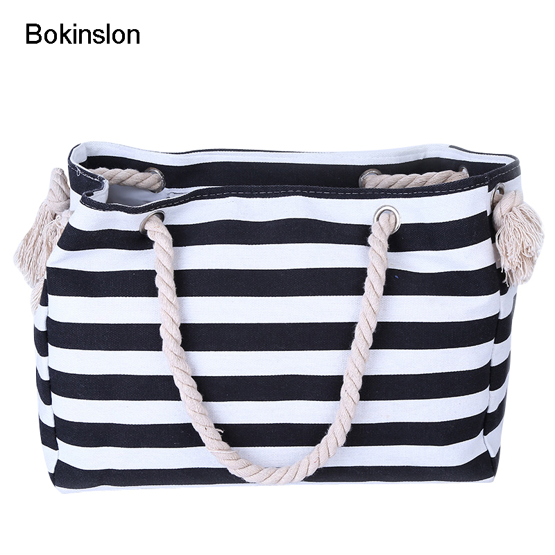 Bokinslon Woman Big Bags Canvas Hemp Rope Women Stripe Bags Casual Fashion Female Travel Shoulder BagsBokinslon Woman Big Bags Canvas Hemp Rope Women Stripe Bags Casual Fashion Female Travel Shoulder Bags