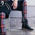 Mejor versión temor de dios NIEBLA hombres Orillo cremallera Escocia plaid rejilla pantalones de Los Hombres pantalones Casuales de La Moda de justin bieber
