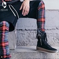 Melhor versão temor de deus NEVOEIRO homens Selvedge zíper Escócia xadrez calças justin bieber grid Moda Casual calças Dos Homens