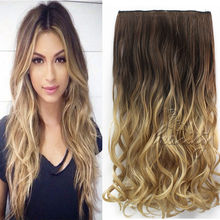 24″ 60cm Wavy Curly Extension 5 Clip De Cheveux Ombre Piece Hair Extensions Cosplay Style Chocolate Brown to Sandy Blonde B40