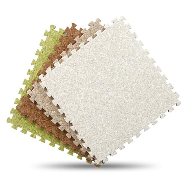short fine fur puzzle eva foam floor mats for children baby crawling cutting area rug pad