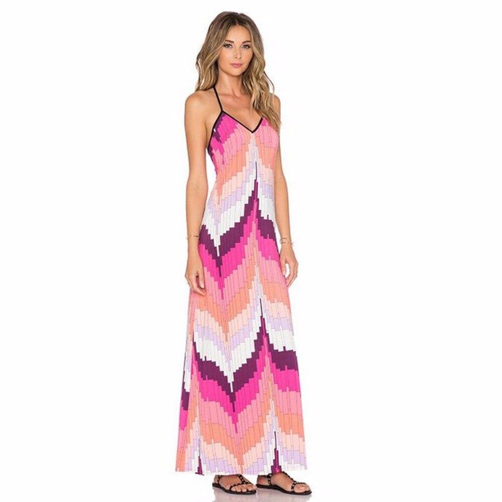 Puseky mujer verano vestidos largos Casual Multicolor rayas imprimir ...