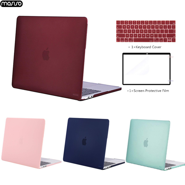 MOSISO Crystal\Matte Laptop Case For Apple Macbook New Pro 13 15 With Touch Bar Shell Case for Mac Pro13 15 inch Cover 2016 2018