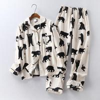 Cute White Bear 100 Brushed Cotton Women Pajama Sets Autumn Casual Fashion Sleepwear Women Homewear Sexy
