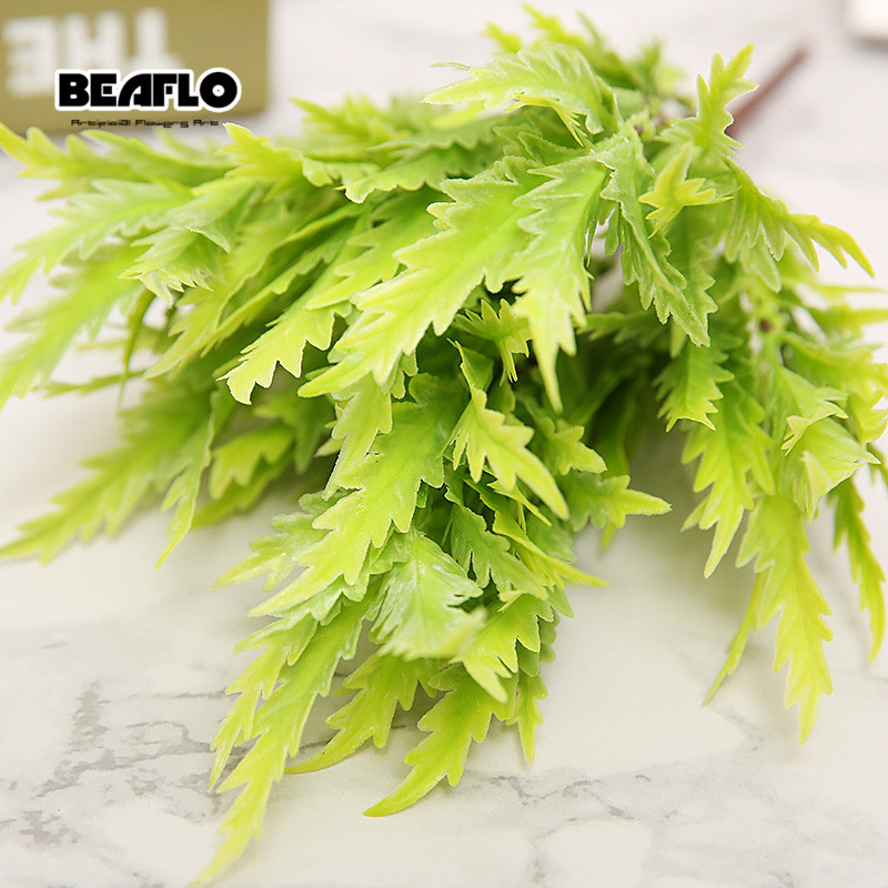 New 7-fork 5 Color Green Fake Grass Artificial Plants For Plastic Flowers Wedding Garden Table Store Decoration Clover Plant