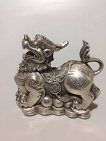 Collection tibet silver Money brave troops statue,Home/ office desk decoration Feng shui pi xiu sculpture