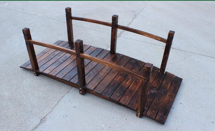 Houten brug stained afwerking decoratieve massief houten vijver