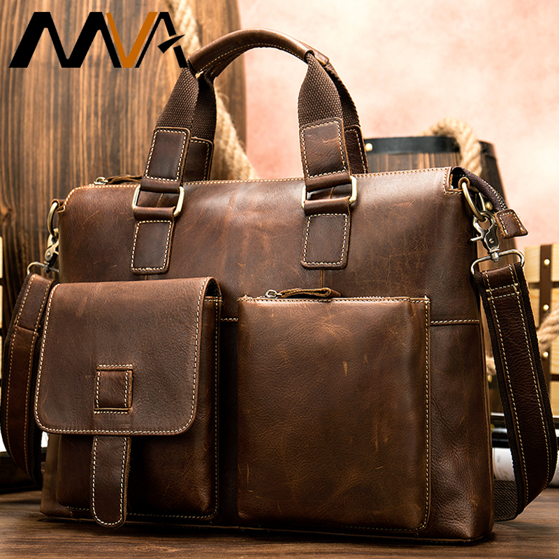 Men's Briefcase Genuine Leather Laptop Bags For Mens Messenger Bag Men Leather Briefcases Mens Casual Business Sac En Cuir Homme