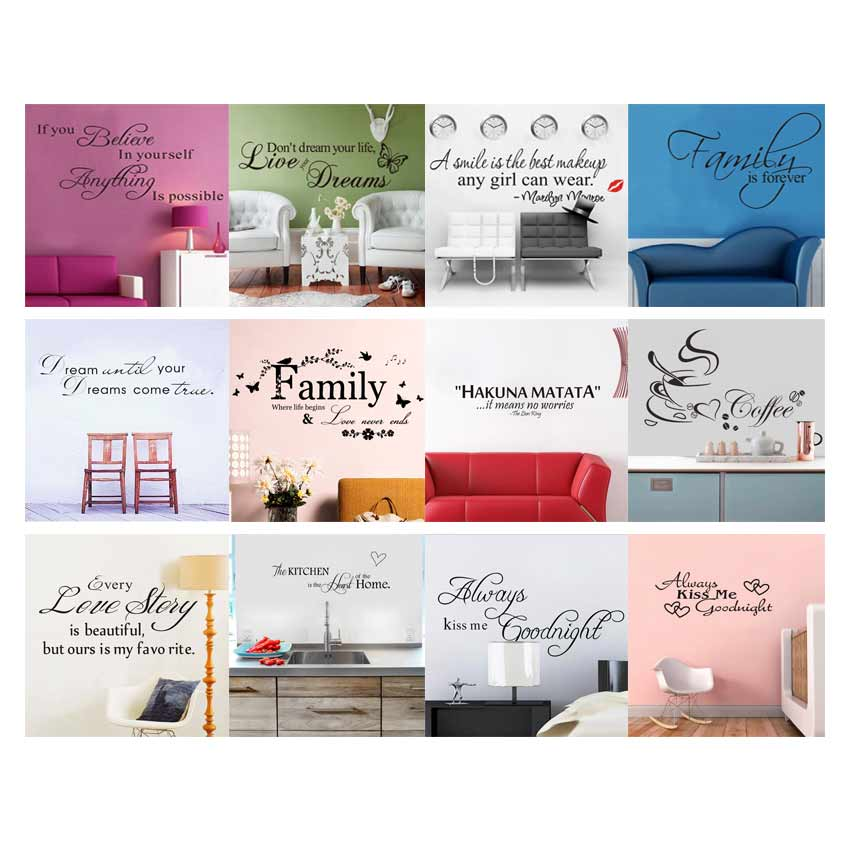 Art Words Citat Væg Sticker Family Quotes Vægoverføringsbilleder Home Decoration Bedroom Removable Vinyl Adesivo De Parede 12Style Vælg
