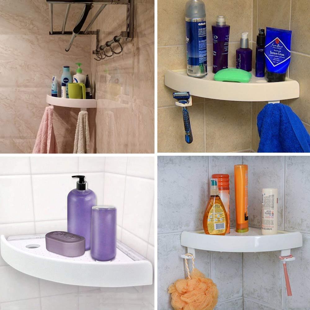Etagère de douche salle de bain etagère de rangement d'angle multifonctionnelle 2 crochets pour accroche serviette shampooing support ventouse