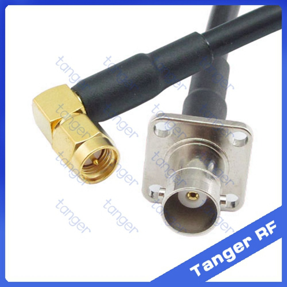 Hot sale Tanger BNC female jack 4four hole panel to SMA male plug right angle RF RG58 Pigtail Jumper Coaxial Cable 20inch 50cm areyourshop sale 10pcs adapter bnc female jack to sma male plug rf connector straight gold plating