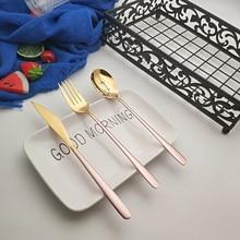 Hot Sale 3/12 pcs Pink Gold Wishful Dinnerware 304 Stainless steel Knife Fork Spoon Cutlery Kitchen Food Tableware Flatware Set