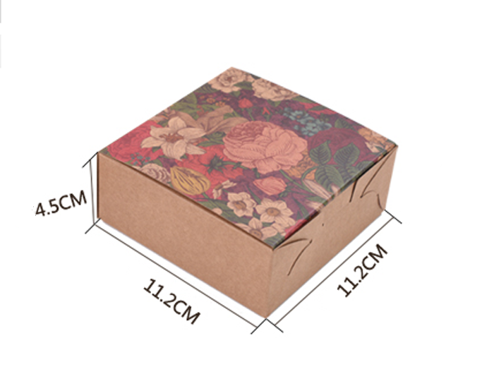 11.2x11.2x4.5cm Small Flowers 4pack Cake Box Cardboard Boxes For Cakes 6 Grain Kraft Cardboard Boxes Paper Box Relieving Heat And Thirst. 20pcs/pack Home & Garden Cake Decorating Supplies