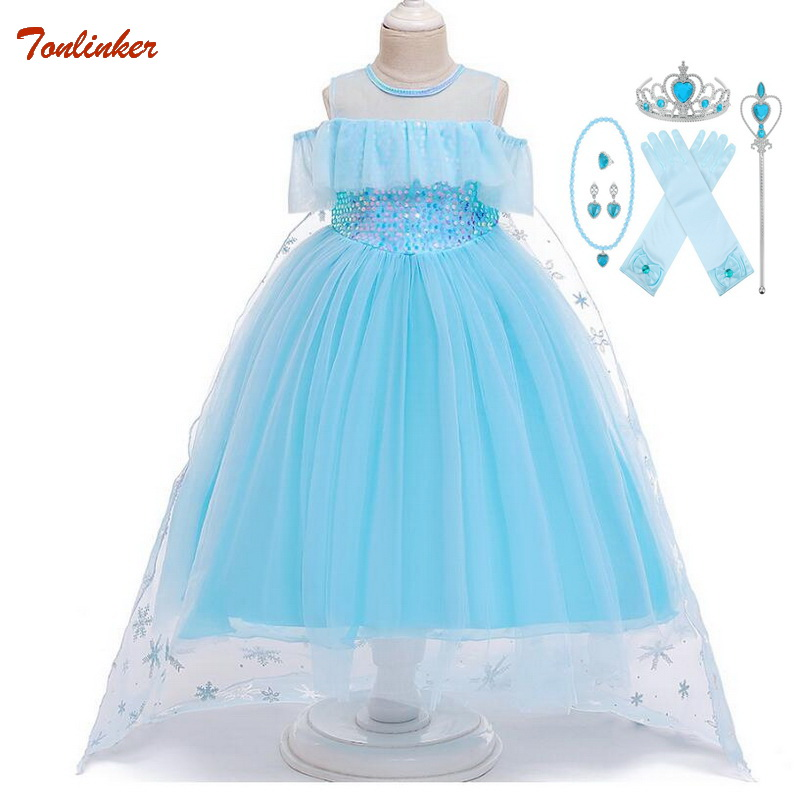 New Elsa Dresses For Hair Accessory Set Children Girls Clothing Girls Princess Anna Elsa Costumes Party Cosplay Elza Vestidos