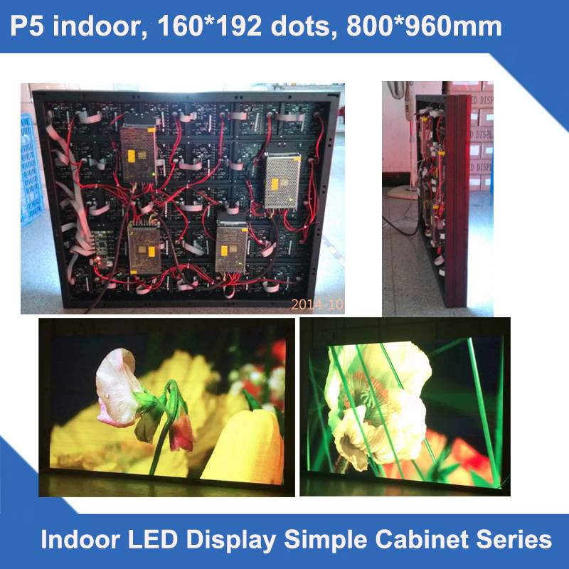 TEEHO Led Display P5 Indoor Simple Cabinet Screen 160*192 Dots 800mm*960mm Slim Led Module Cabinet 1/8 Scan Display Billboard