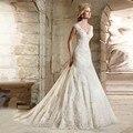Alice LARGO V-CUELLO MEJOR CALIDAD APLIQUES de ENCAJE BORDONEADO SIRENA CAPILLA TREN VESTIDOS de NOVIA de COLOR MARFIL vestido de noiva
