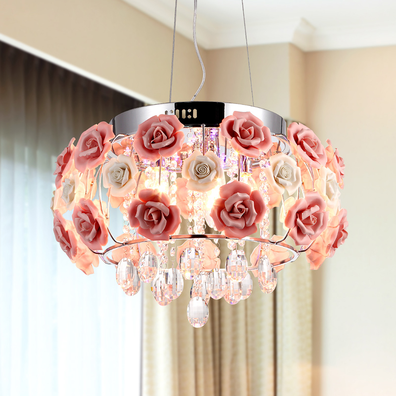 Moderne lustre En Cristal lampes Pour cuisine De Luxe Hôtel chambres Rose fleur Foyer Entrée éclairage avec E14 Led lampe 9068