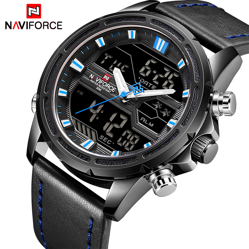 2018 Men Watches Top Brand NAVIFORCE Fashion Leather Quartz Wrist Watch Mens Military Sports LED Digital Clock Relogio Masculino retro design leather band watches men top brand relogio masculino 2018 new mens sports clock analog quartz wrist watches gift