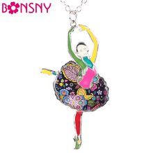 Bonsny Chain 2016 New Colorful Enamel French Dance ballet necklace bailarina Pendant Alloy Charm Brand Jewelry For Women Girl(China)