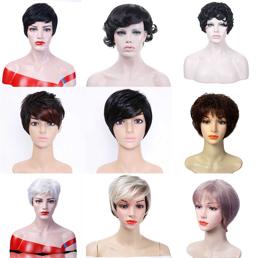 Allaosify Synthetic black gray and Blonde Color Short Hair straight and curly Wigs for Women High Temperature Fiber Hair