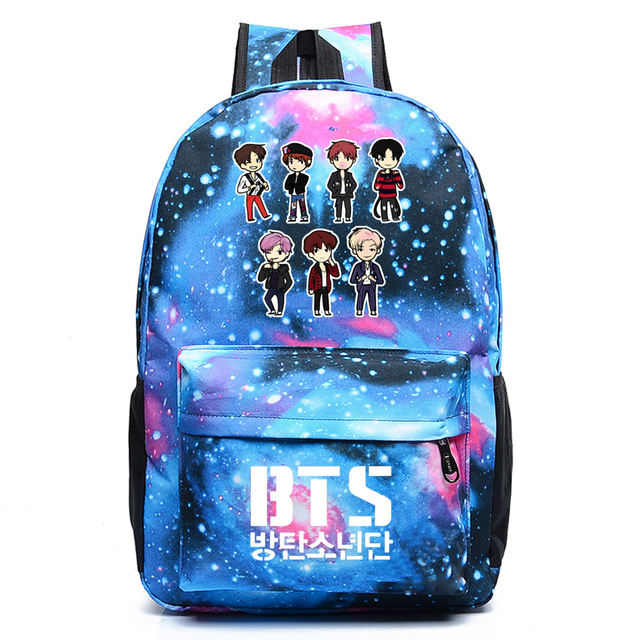Wishot Bts Backpack Galaxy School Bags Bookbag Children Fashion Shoulder Bag Students Travel For