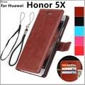 Чехол для Huawei honor 5X с держателем для карт, чехол для Huawei Honor 5X, кожаный чехол для телефона, Ультратонкий чехол-бумажник с откидной крышкой, бес...