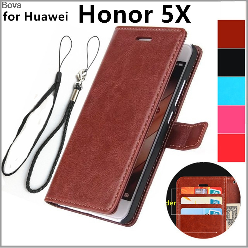Fundas Huawei τιμή 5Χ θήκη κάλυψης κατόχου καρτών για Huawei Honor 5X δερμάτινη θήκη τηλεφώνου εξαιρετικά λεπτή φούξια κάλυμμα πορτοφολιών Δωρεάν αποστολή