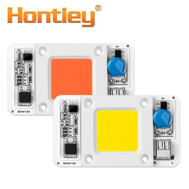 Hontiey LED 50W COB Bulb Smart IC AC 220V Driver White Warm Cool Full Spectrum Spotlight Floodlight Flip chip lamp tube DIY