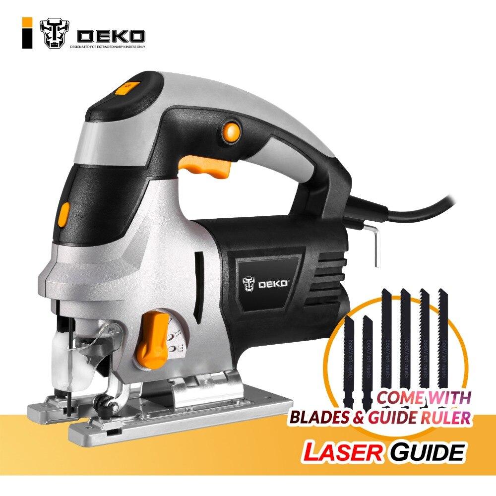 DEKO 800 W scie sauteuse Guide Laser 6 vitesse Variable scie électrique avec 6 pièces lames, règle en métal, clé Allen scie sauteuse outils électriques