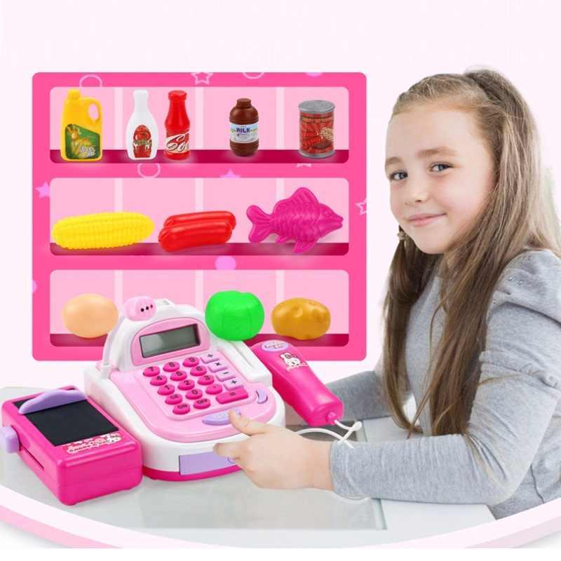 Kids Supermarkt Kassa Elektronische Speelgoed Met Voedingsmiddelen Mand Geld Kinderen Leren Onderwijs Pretend Play Set ( Gift Box)