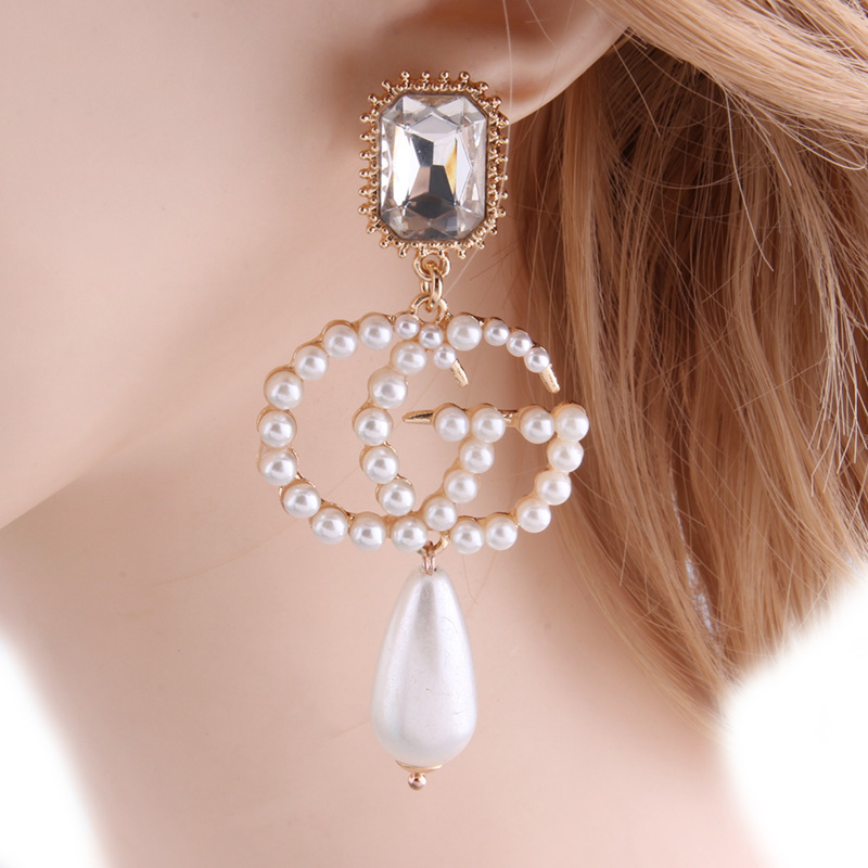 NeeFu WoFu Drop Pearl Earrings Zine Alloy Brand Rhinestone Big Earring  Large Long Brinco ... 1d061b151604