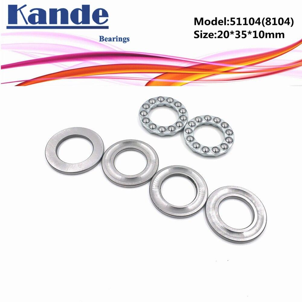 Kande 51104 8104 4pcs 20x35x10  Flat Thrust Ball Bearing 51104 Axial Thrust Bearing