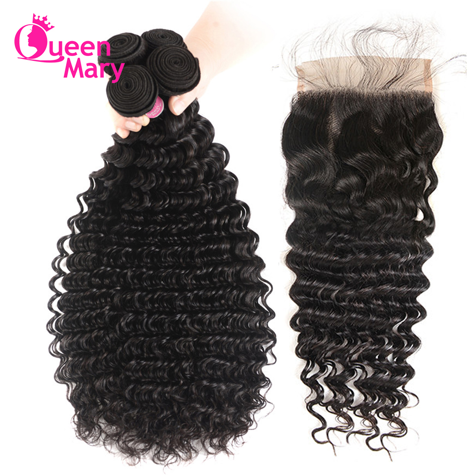 Deep-Wave-Bundles Human-Hair Queen Mary Hair-Extensions Closure Peruvian with 5x5 Free-Part