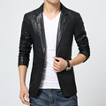 high quality men slim suit collar solid water wash Faux leather blazers casual leather jacket coat two button multi pocket