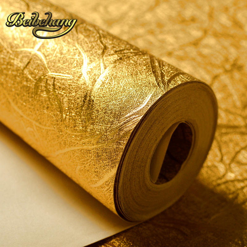 Beibehang High Quality Plaid Textured Striped Gold Foil Wallpaper Living Room Restaurant Luxury Wall Decor Waterproof Embossed