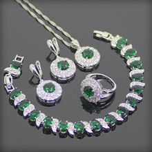 Emerlad verde Blanco Creado Topaz 925 Plata de La Joyería Para Las Mujeres Pendientes/Colgante/Collar/Anillo/pulsera de Caja Libre