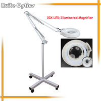 220V 10x Floor Stand Green Optical Glass Lens LED Illuminated Big Magnifying Glass Large Lamp Magnifer with LED Light