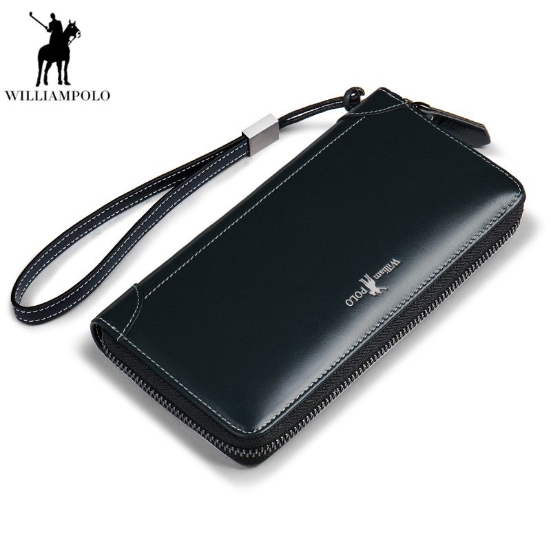 Men Wallets Genuine Leather Long Clutch Purse Zipper & Hasp Men Walet Portomonee Rfid Luxury Brand Money Bag Coin Purse PL171326