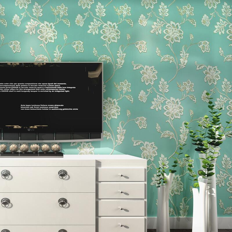 New rustic village flower non-woven wallpaper tv background wall 3d wallpaper thickening